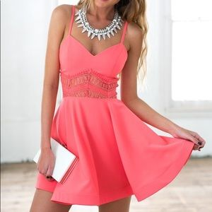 NWT Xenia Coral Flouncy Lace Skater Dress 4